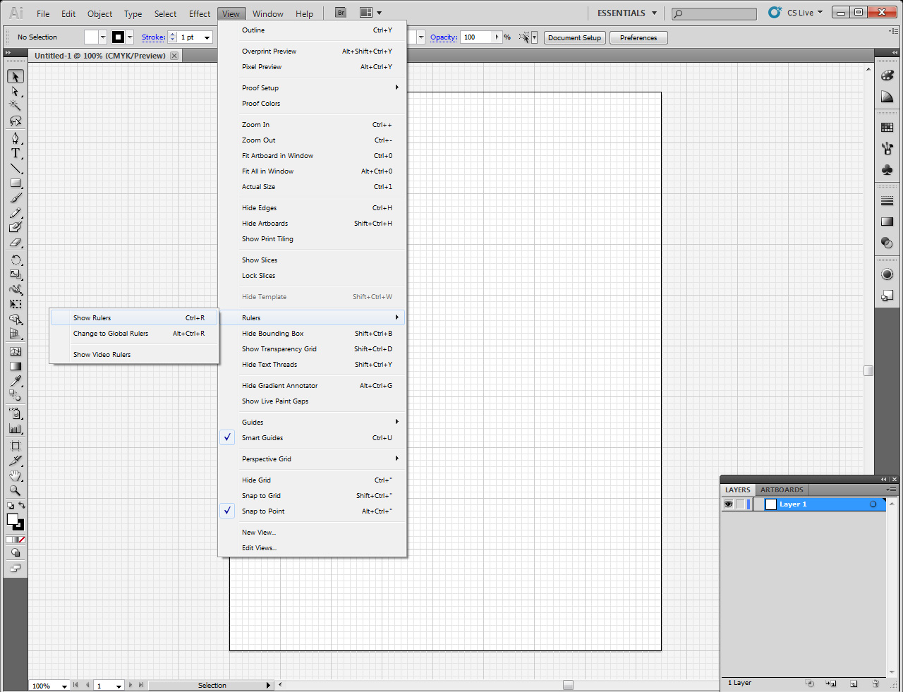 how to show rulers adobe illustrator